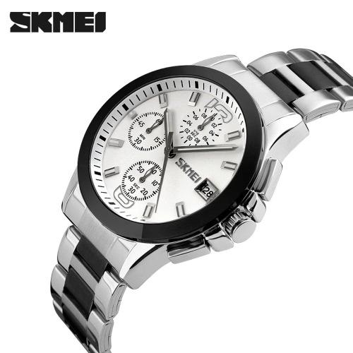SKMEI 2016 Top estrenar de la llegada hombres de lujo del reloj del negocio Seis botones de reloj de cuarzo resistente al agua 30M Vestido Relojes Cronómetro