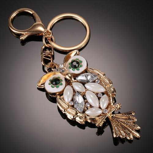 Joyería de moda del encanto hueco de la cadena del anillo dominante brillante Rhinestone Aureate animal buho del bolso del bolso de regalo de las mujeres