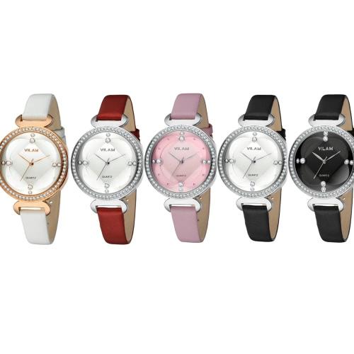 Vilam Fashion Cool Stylish Brand Women Female Quartz Rhinestone Crystal Watch 3 ATM Water Resistant PU Leather Watchband Analog Wristwatch