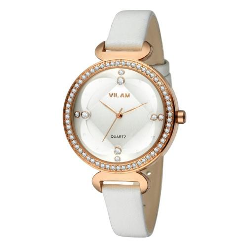 Vilam Art und Weise kühle stilvolle Marke Frauen Frau Quarz Strass Kristall-Uhr 3 ATM wasserdicht PU-Lederband analoge Armbanduhr