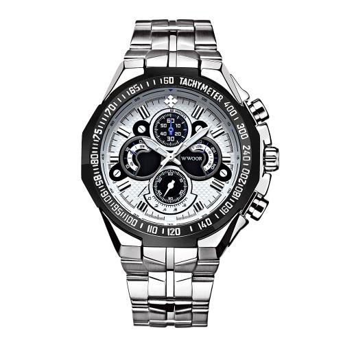 WWOOR Chłodny Moda Luminous Stainless Steel Men Sport Style Watch 30M Wodoodporny zegarek kwarcowy zegarek analogowy Men Casual Box +