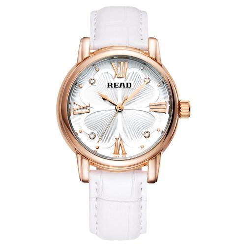 LESEN Marken-Frauen-Quarz-Armbanduhr LuxuxRhinestone Arbeiten Sie einfache Lederarmband Analog 3ATM wasserdicht Uhr
