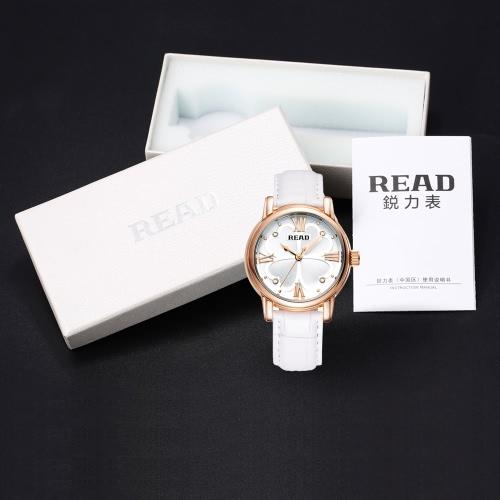 READ Brand Women Quartz Wristwatch Luxury Rhinestone Fashion Simple Genuine Leather Strap Analog 3ATM Water Resistant Watch