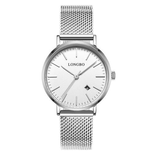 Longbo marca de moda de estilo moderno aleación Cinturón de malla Hombres y Mujeres Casual reloj de los amantes de lujo Parejas Relojes Hombre Fecha Día impermeable mujer de cuarzo rosa de oro del reloj de 5009