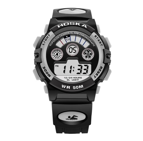 HOSKA 2017 Digital LED 50M impermeável Estudante Sports Watch eletrônico Boy Girl Crianças Relógio de pulso Relógio Backlight Cronômetro 7 cores + Box