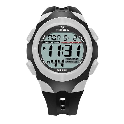 HOSKA 2017 Multifunktions-Digital-Student-Sport-Uhr-Hintergrundbeleuchtung 30M wasserdichte Kind-Jungen-Mädchen-Armbanduhr-Warnungs-Stoppuhr 4 Farben + Kasten