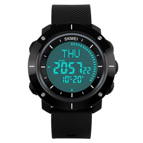 SKMEI Männer Frauen-Digital-Sport-Uhr-Multifunktions Unisex Armbanduhr mit Kompass Weltzeit Chronograph Alarm Kalender Stoppuhr