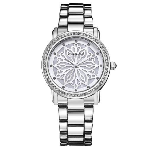 CRRJU marca de lujo de diamantes de acero inoxidable mujeres relojes de prueba de agua esqueleto de negocios vestido de reloj de pulsera Ladies Watch Gift + Box