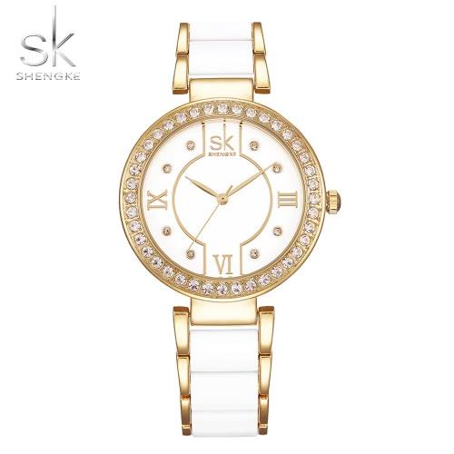 SK Diamante De Lujo De Cerámica Al igual que las mujeres de la banda Relojes de cuarzo a prueba de agua damas elegantes reloj de pulsera informal Feminio Relogio