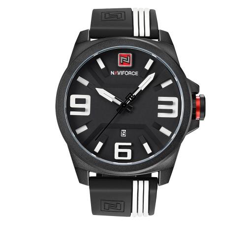 NAVIFORCE 2017 moda de silicona correa de los deportes de los hombres relojes de cuarzo a prueba de agua 3D Dial Reloj Casual Masculino Relogio + Box