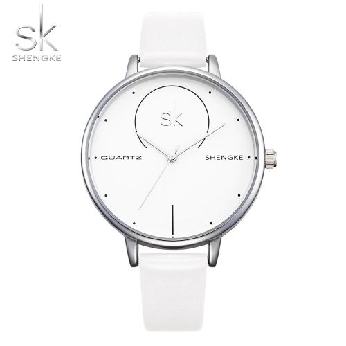 SK 2017 moda simplicidad cuarzo reloj de pulsera de agua resistente a la PU correa mujeres relojes