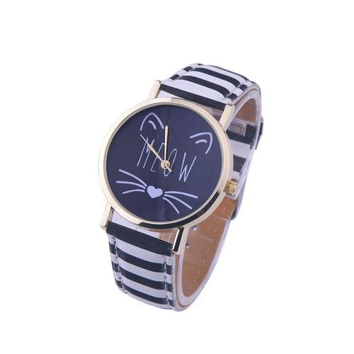 OKTIME neue nette Mann-Frauen-Art- und Weiseeinfache Katze-reizende Uhr-Glas-Spiegel-Stahlbügel-Quarz-Uhr