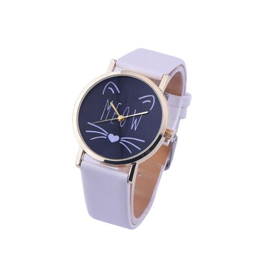 OKTIME Nuevos hombres lindos de la moda de las mujeres simples gato encantadores relojes de cristal espejo de acero correa reloj de cuarzo
