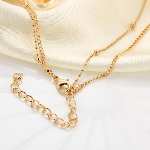 Элегантная многослойная цепочка Природный кристалл Подвеска Колье Золотой сплав Случайные короткие ожерелья ключицы Женщины Уникальные ювелирные изделия