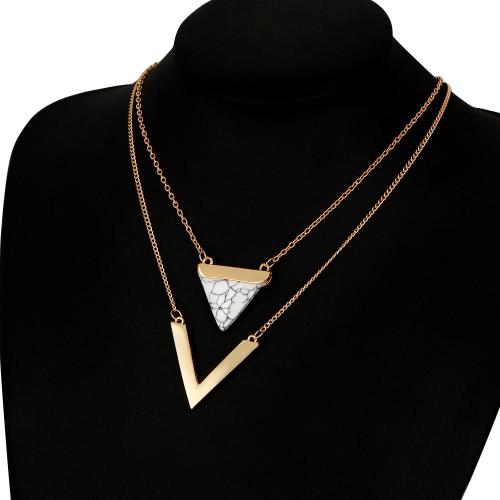 Señora europea y americana joyería de moda triángulo turquesa colgante de múltiples capas collar de las mujeres cadena de la clavícula