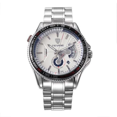 TEVISE marca de fábrica a prueba de agua mecánica automática de los hombres reloj de pulsera de acero inoxidable luminoso de automóvil-viento reloj mecánico de deportes reloj casual mejor regalo + caja
