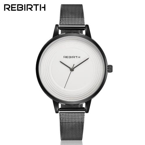 REBIRTH marca moderna simplicidad acero inoxidable mujeres relojes de cuarzo agua a prueba de pulsera reloj damas reloj de pulsera casual mejor regalo