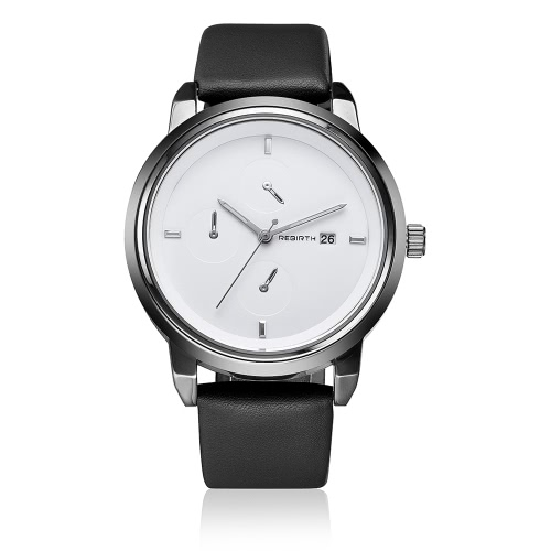 REBIRTH marca moda PU cuero cuarzo WOmen relojes impermeable deportes Cool Ladies reloj casual calendario reloj fresco 2017