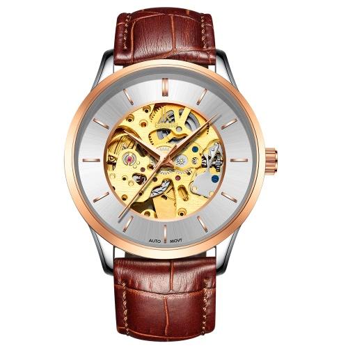 IK COLORING Esqueleto de lujo mecánico automático de los hombres reloj Auténtico reloj de cuero del hombre del reloj de hombre casual Wristwatch