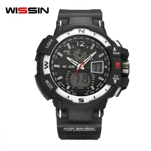 Wissin Outdoor 5ATM Wodoodporny zegarek kwarcowy Zegarki męskie Sport Zegarki na rękę Relogio Musculino Calendar Backlight