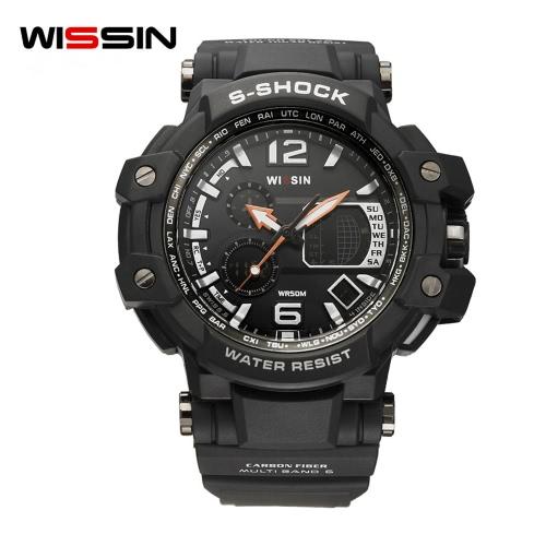 Wissin a prueba de golpes 5ATM resistente al agua Reloj Hombres Relojes Deportivos Reloj De Cuarzo Reloj Reloj Calendario Relogio Musculino