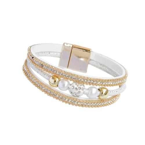Pulsera de múltiples capas del brazalete de las mujeres de la manera Pulsera de cristal unisex magnética de cuero moldeada Wristband