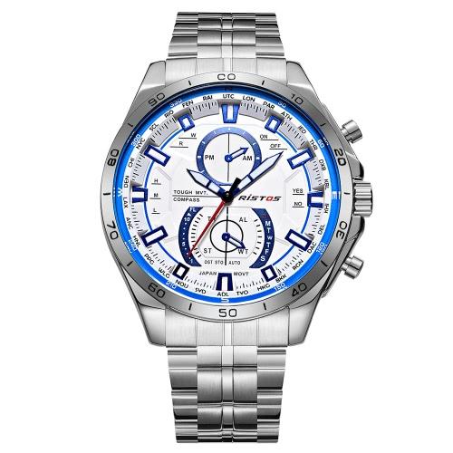 RISTOS 2017 Moda hombre de acero inoxidable reloj de cuarzo a prueba de agua hombre de negocios reloj de mano Masculino Relogio + Caja