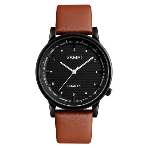 SKMEI 3ATM Resistente al agua Moda Casual Reloj Hombres Reloj de cuarzo Reloj de pulsera de cuero genuino