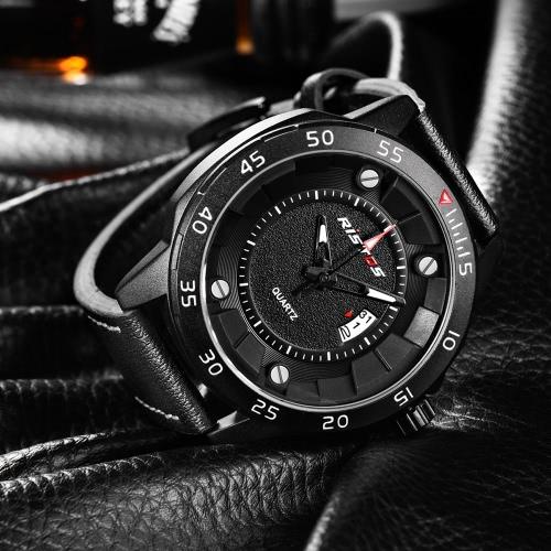 RISTOS 3ATM Water-resistant Casual Watch Men Quartz Watches Luminous Wristwatch Male Calendar