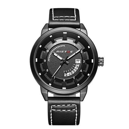 RISTOS 3ATM impermeable reloj de cuarzo hombres de moda casual Relojes luminoso reloj de pulsera masculino calendario
