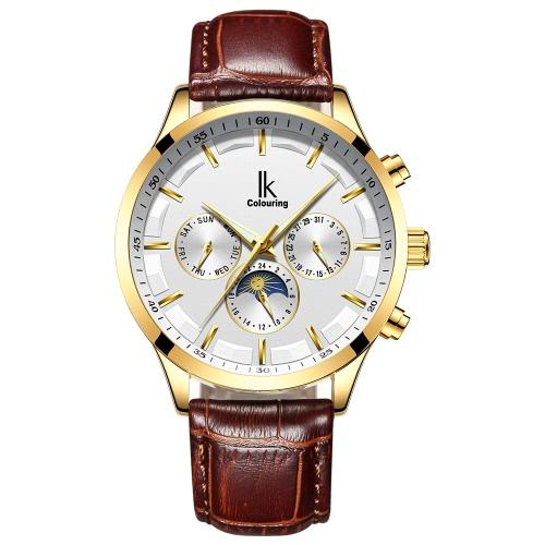 IK COLORING Reloj mecánico automático luminoso de lujo Línea de la luna de la uno mismo-viento Fase Hombre impermeable Reloj de pulsera del negocio Reloj genuino de la venda del cuero