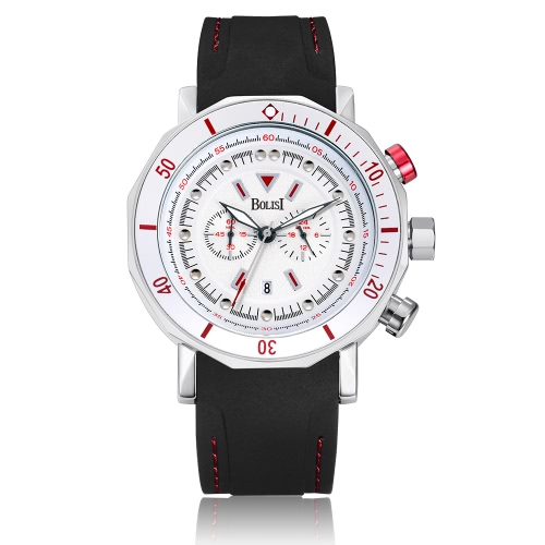 Bolisi moda casual reloj de cuarzo 3ATM hombres resistente al agua Relojes reloj de pulsera masculino calendario