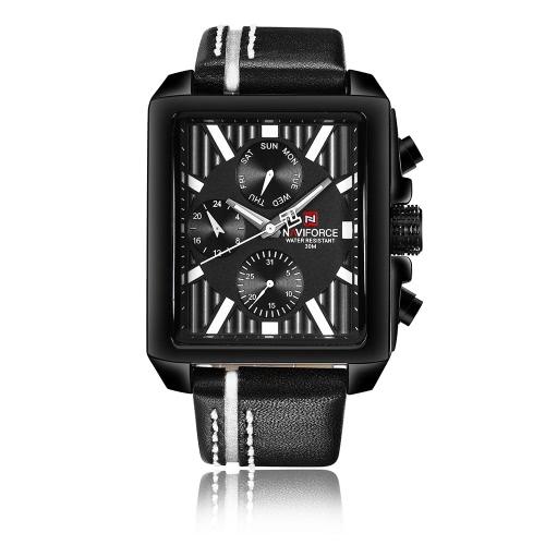 NAVIFORCE de lujo de cuero de cuarzo hombres reloj cuadrado Dial 3ATM agua hombre de prueba casual reloj de pulsera con sub-dial + caja