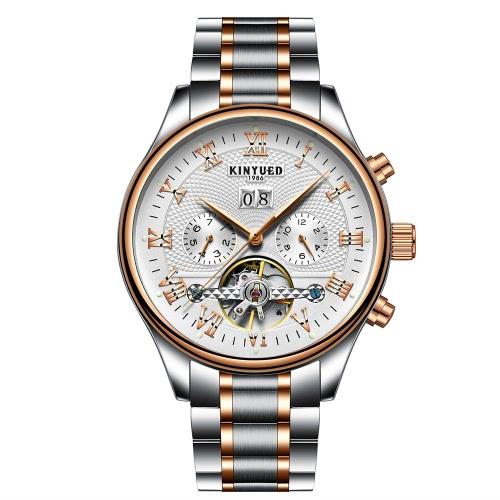KINYUED Reloj de Negocios Relojes Mecánicos Automáticos 3ATM Resistente al Agua Hombres Reloj Hombre