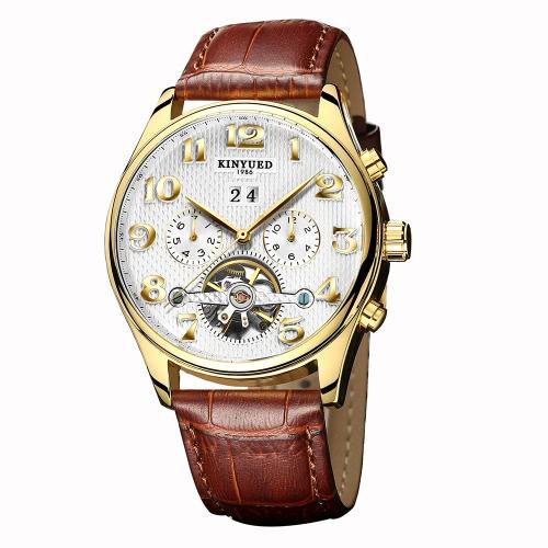 Reloj de negocio KINYUED 3ATM hombres mecánicos automáticos reloj resistente al agua Relojes de pulsera Hombre