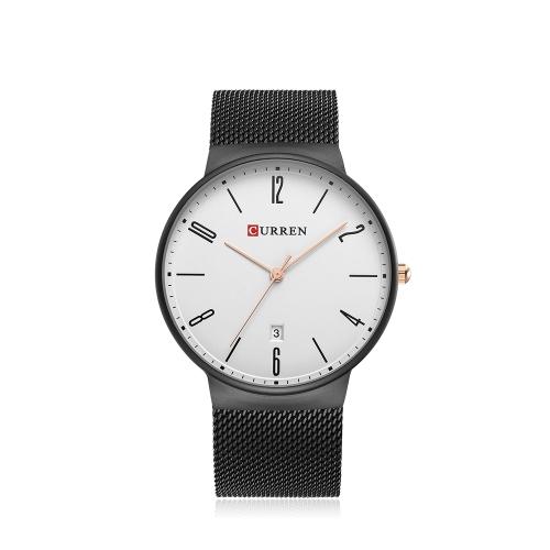 CURREN Fashion Mesh Reloj de cuarzo de acero inoxidable a prueba de agua Simplicity Man Casual Reloj de pulsera Calendario