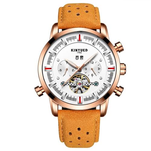 Reloj de negocio KINYUED 3ATM reloj mecánico automático resistente al agua Reloj luminoso reloj de cuero genuino Hombre calendario