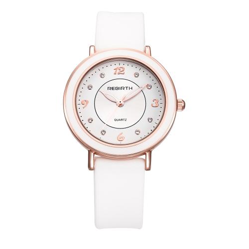 REBIRTH Reloj de cuarzo casual de moda Reloj de pulsera de mujer resistente al agua Vida femenina