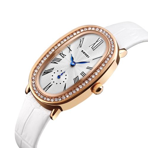 SKMEI Fashion Casual Quartz Watch 3ATM Water-resistant Women Watches Genuine Leather Wristwatch Female Relogio Feminino