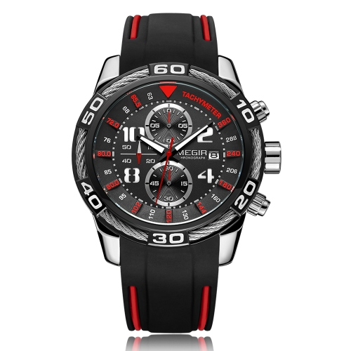 MEGIR Fashion Sport Silicone Men Relojes 3ATM Water-resistant Quartz Luminous Man Reloj cronógrafo Calendario