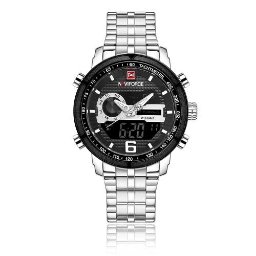 NAVIFORCE Luminous Dual Display Quartz Digital Hombres Reloj a prueba de agua Chrono Sports Style Acero inoxidable Hombre Casual Reloj calendario + Caja