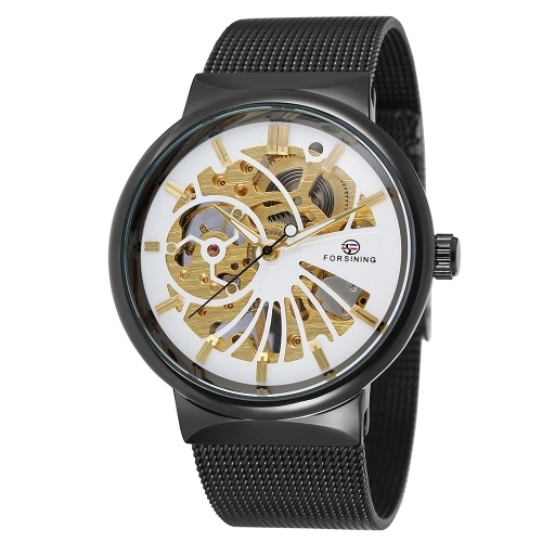 FORSINING Luxury Luminous Skeleton Men Mechanical Watch Banda de Acero Inoxidable Banda de Acero Inoxidable Reloj de pulsera Casual + Caja