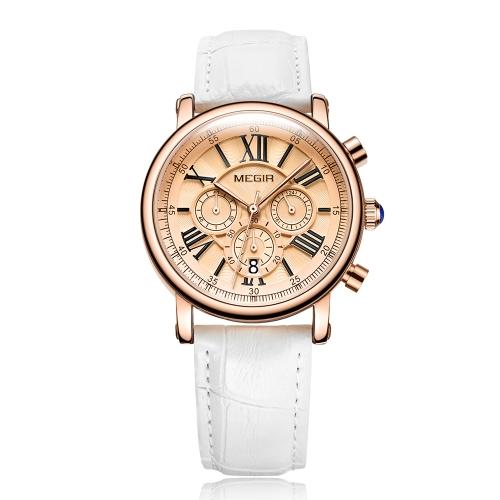MEGIR Fashion Luxury Women Relojes 3ATM Cuarzo resistente al agua Mujer Reloj Cronógrafo Calendario
