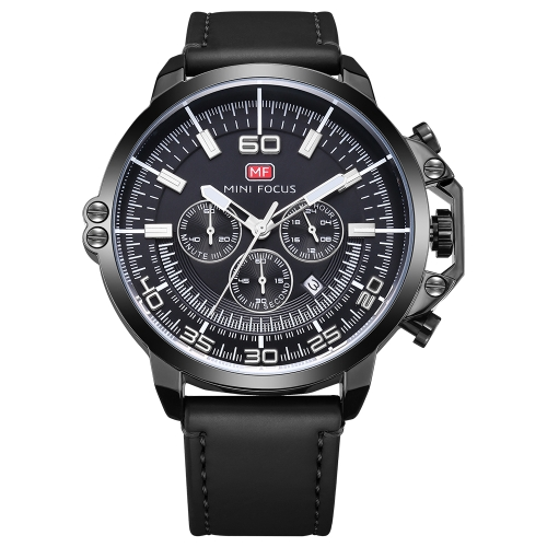 MINI FOCUS Relojes de moda de cuero genuino para hombre Quartz 3ATM Reloj de pulsera de hombre casual luminoso resistente al agua