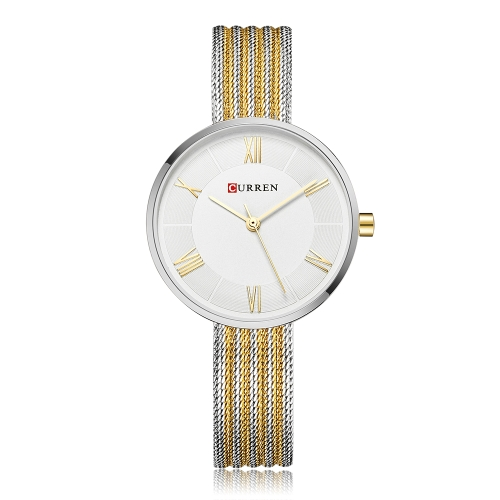 CURREN moda lujo acero inoxidable mujer relojes cuarzo 3ATM resistente al agua mujer casual reloj de pulsera simple