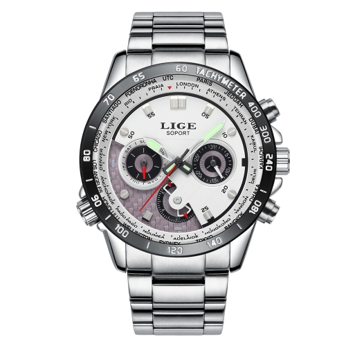 LIGE Fashion Men Watches 3ATM Reloj de cuarzo resistente al agua Luminous Casual Man Reloj de pulsera Hombre Relogio Musculino Week