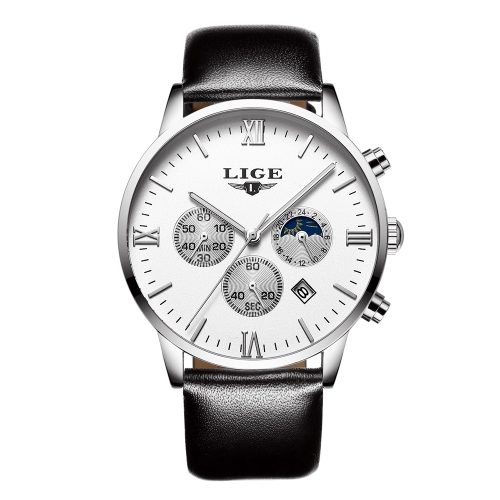 LIGE moda de cuero genuino hombres relojes 3ATM reloj de cuarzo resistente al agua luminoso hombre reloj de pulsera masculino Relogio musculino