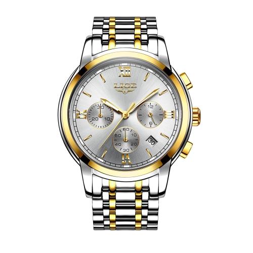 LIGE Fashion Luxury Stainless Steel Men Relojes 3ATM Reloj de cuarzo resistente al agua Luminous Sport Man Reloj de pulsera Hombre Relogio Musculino Chronograph