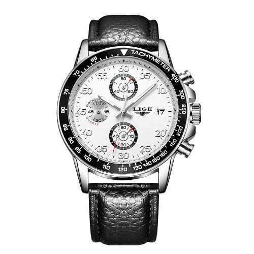 LIGE Fashion Sport Men Relojes 3ATM Reloj de cuarzo resistente al agua Luminous Man Reloj de pulsera Hombre Relogio Musculino Chronograph