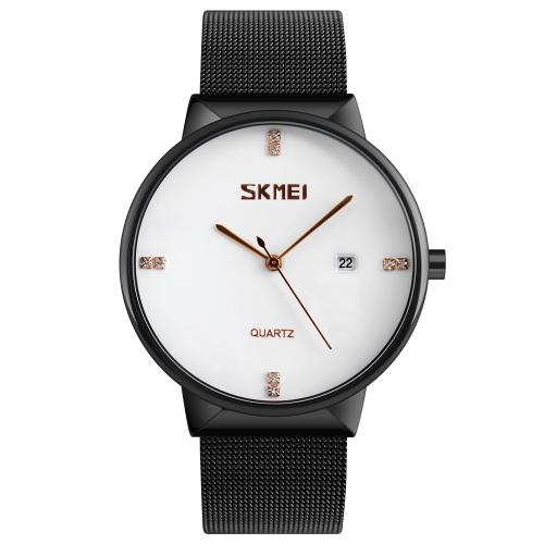 Skmei reloj de cuarzo casual de moda 3ATM reloj resistente al agua reloj de pulsera de acero inoxidable reloj de pulsera para hombre calenda